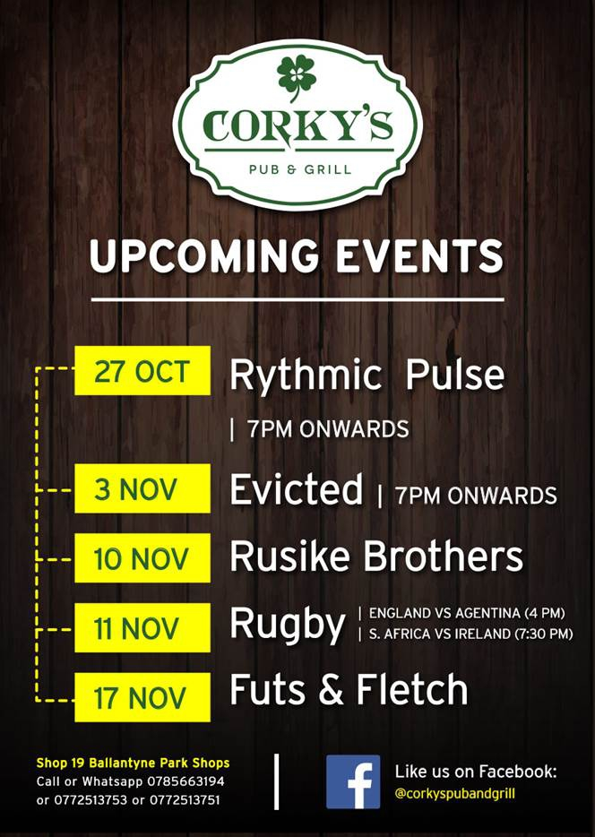 Corky's Upcoming Events