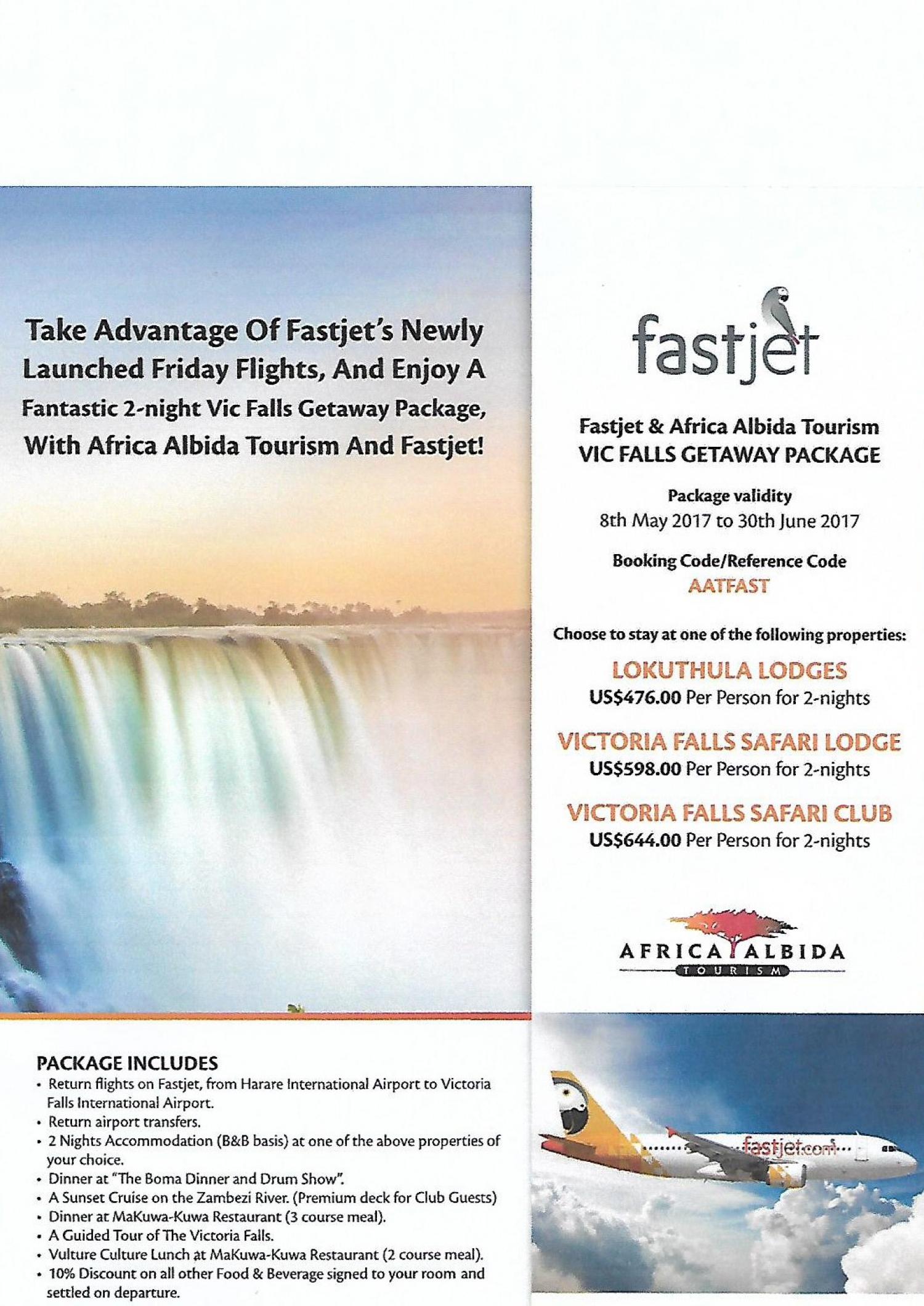 FASTJET AND AFRICA ALBIDA TOURISM VIC FALLS GETAWAY SPECIAL