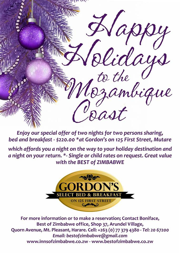 Happy holidays Offer At Gordons B&B Mutare