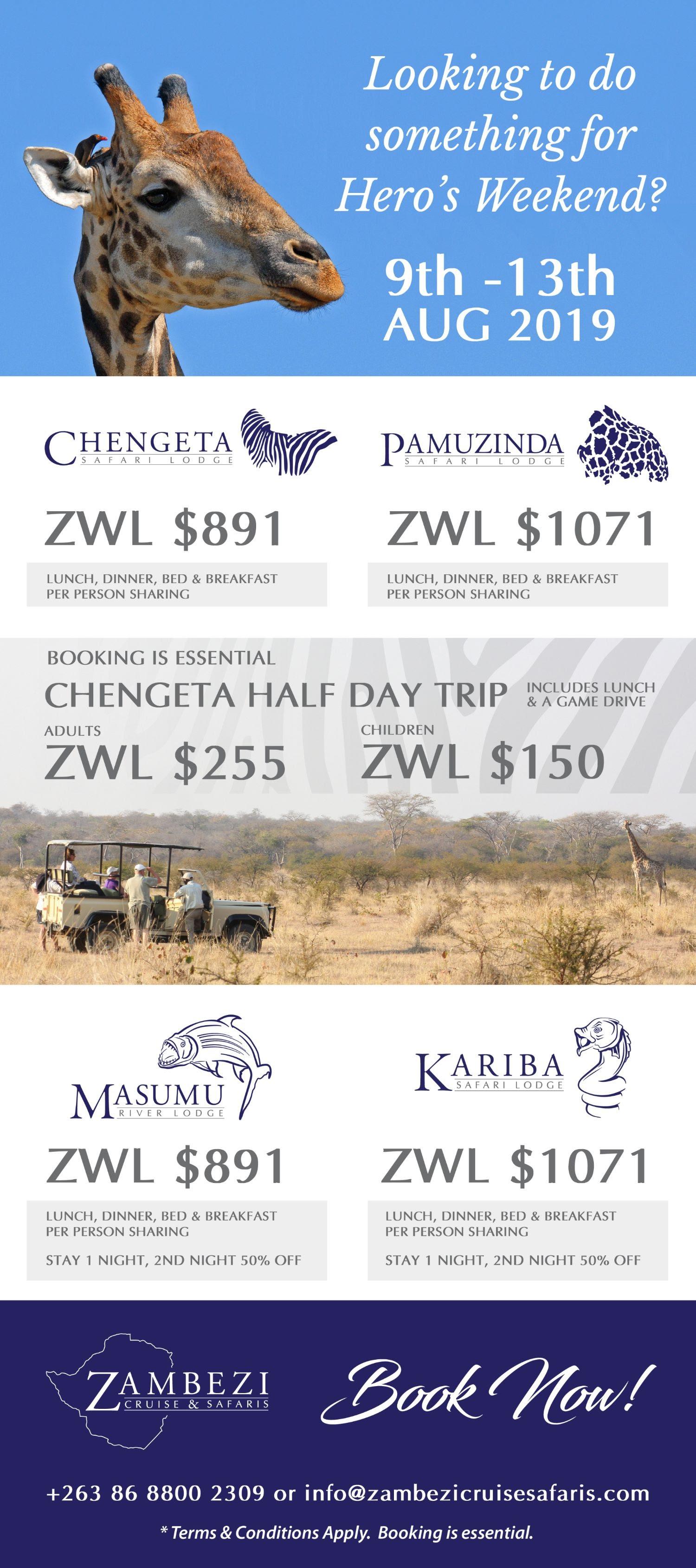 Heroes Weekend Specials Zambezi Cruise Safaris
