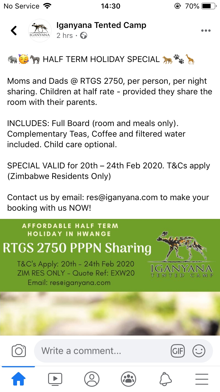 Iganyana Tented Camp Half Term Holiday Special