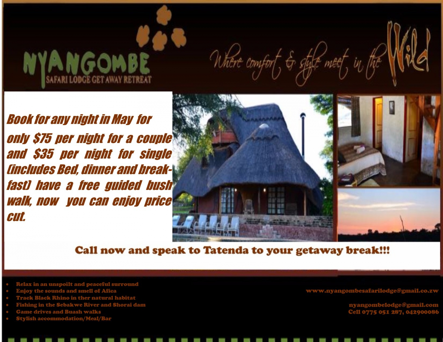 Nyangombe Safari Lodge May Special