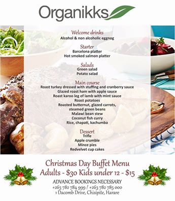 Organikks Christmas Day Buffet Menu