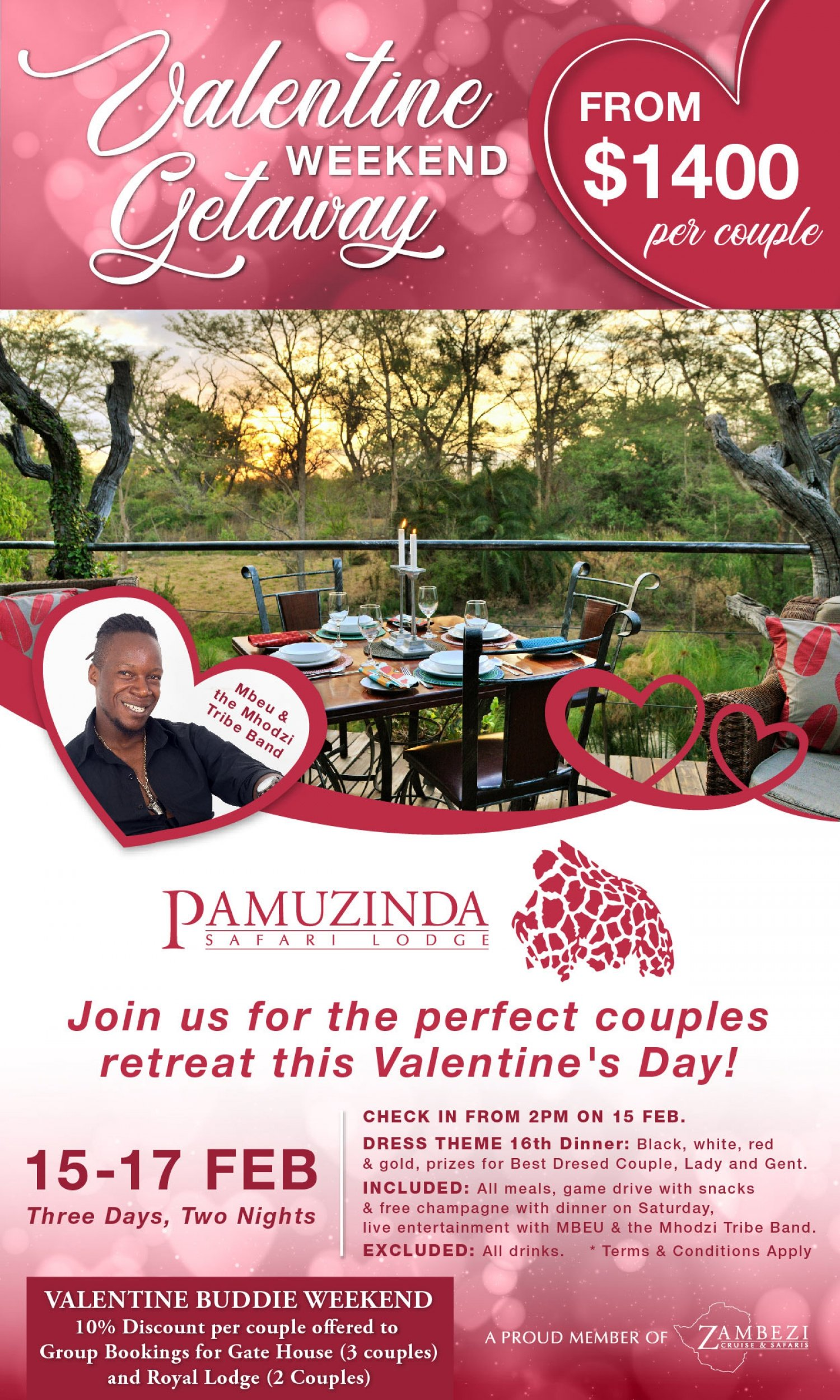 Pamuzinda Safari Lodge Valentines Special Weekend