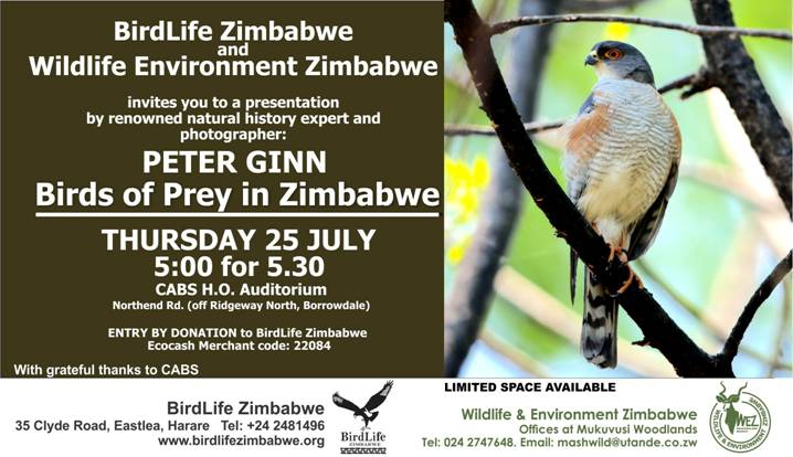 PRESENTATION BY PETER GINN - BIRDS OF PREY IN ZIMBABWE