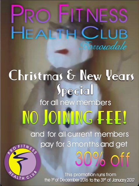 Pro-Fitness Health Club Borrowdale Christmas and New Years Special.