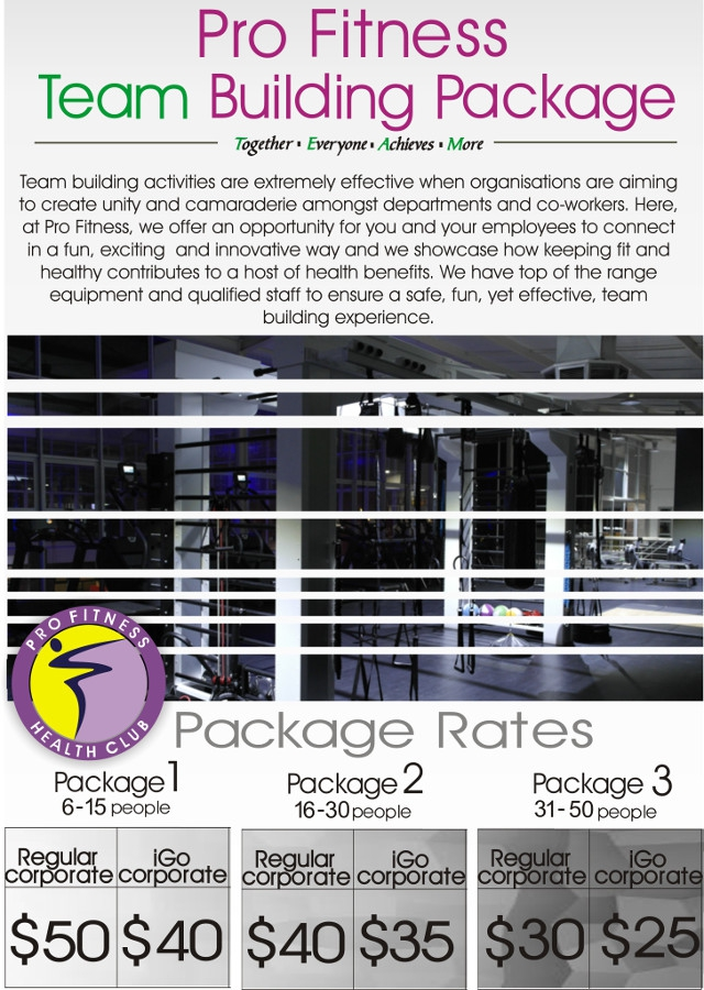 Pro Fitness Health Club Team Building Packages