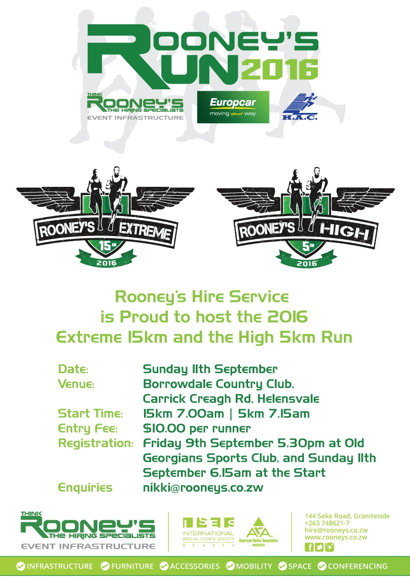 Rooney's Extreme 15 and High 5 Run - 11 September2016