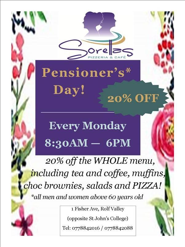 Sorella's Pizzeria And Cafe Pensioner's Day