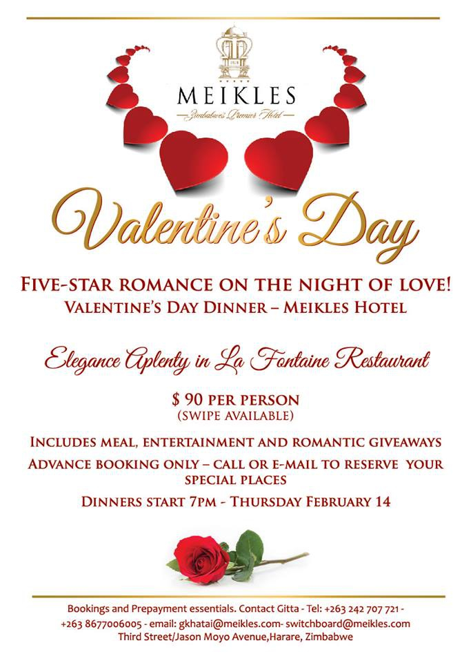 Valentine's Day Dinner At Meikles Hotel.