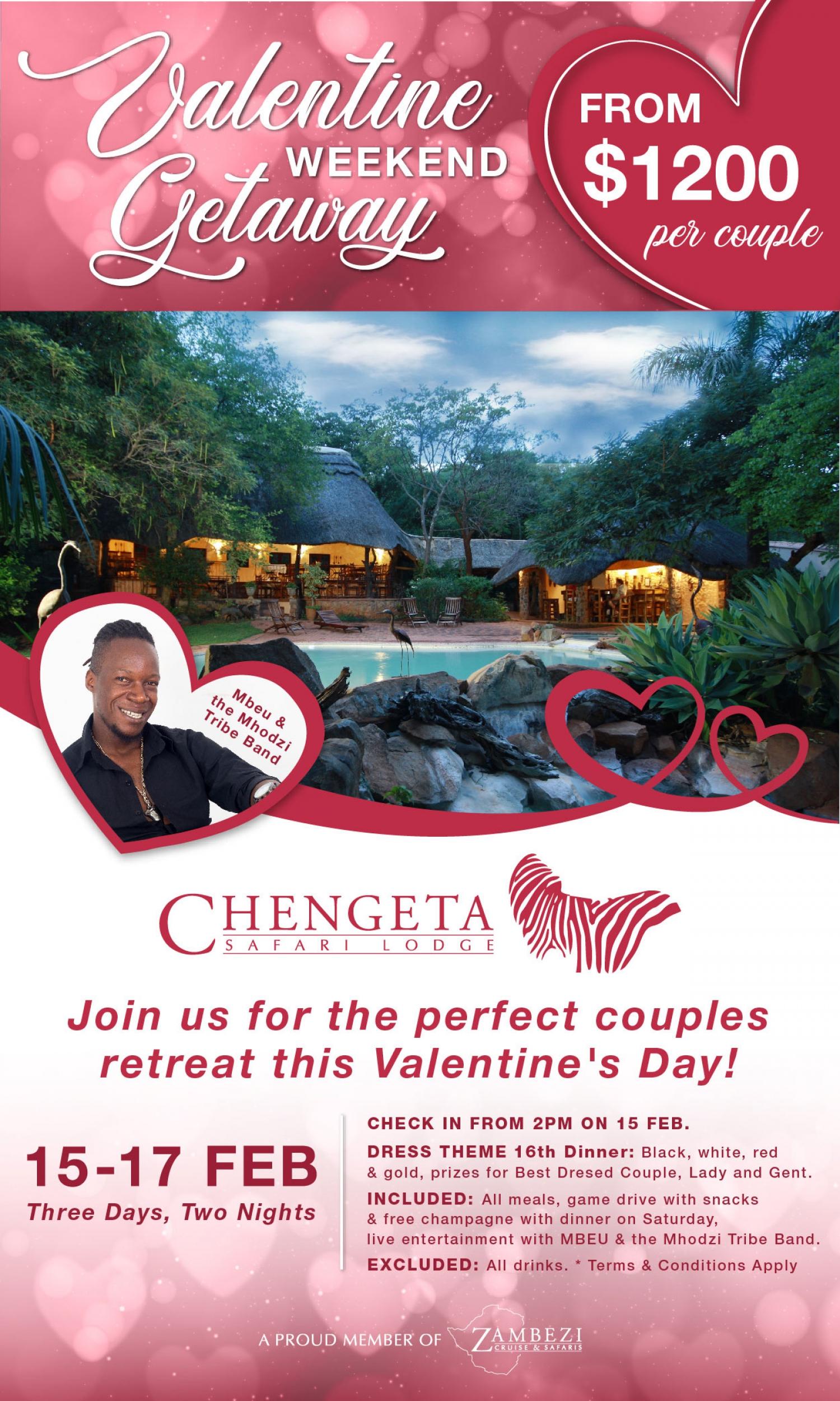 Valentine Weekend Getaway at Chengeta Lodge